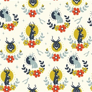 Arleen Hillyer for Birch Organic Fabrics, Tall Tales, DOUBLE GAUZE, Jackalope Cream