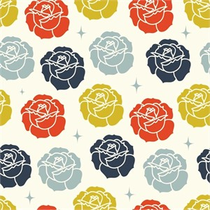 Arleen Hillyer for Birch Organic Fabrics, Tall Tales, Stamped Rose Cream