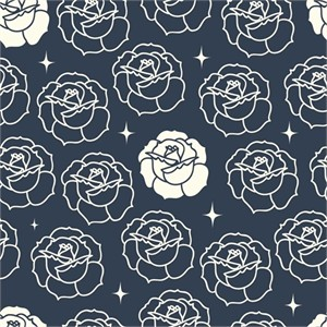 Arleen Hillyer for Birch Organic Fabrics, Tall Tales, Stamped Rose Dusk