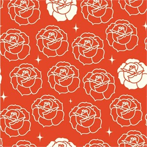 Arleen Hillyer for Birch Organic Fabrics, Tall Tales, Stamped Rose Tomato