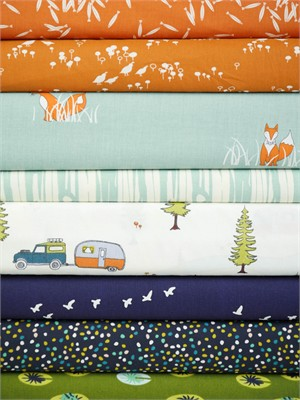 Fabricworm Custom Bundle, ORGANIC, Autumn Adventure in FAT QUARTERS 8 Total