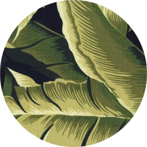 Hoffman Fabrics, On The Lanai BARKCLOTH, Banana Leaves Olive
