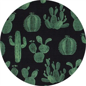 Japanese Import, BARKCLOTH, Cacti Black