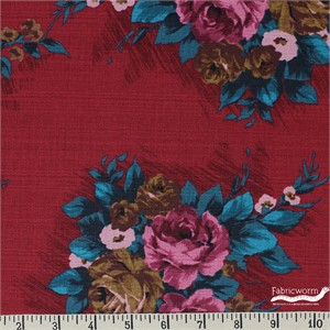 Gertrude Made for Ella Blue Fabrics, Outback Wife, BARKCLOTH, Elizabeth Red