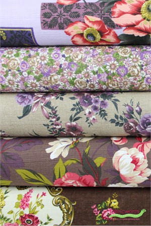 Gertrude Made for Ella Blue Fabrics, Outback Wife, BARKCLOTH, Lavender Lady 5 Total