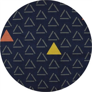 Japanese Import, BARKCLOTH, Triangular Navy
