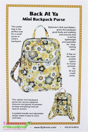 ByAnnie, Sewing Pattern, Back At Ya Mini Backpack Purse (rings and sliders included)