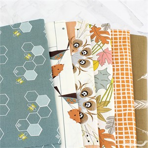 Fabricworm Custom Bundle, ORGANIC, Backyard Birding in FAT QUARTERS 5 Total