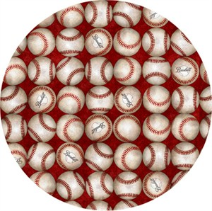 Quilting Treasures, Grand Slam, Baseballs Red