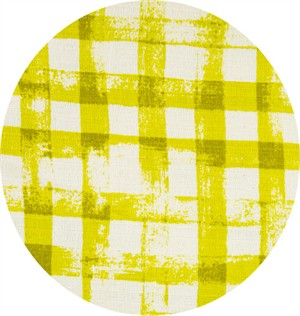 Japanese Import, BARKCLOTH, Painted Gingham Chartreuse