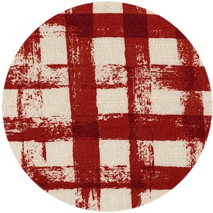 Japanese Import, BARKCLOTH, Painted Gingham Red