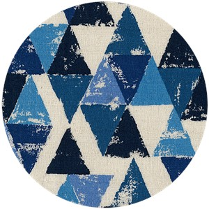 Japanese Import, BARKCLOTH, Painted Triangles Blue
