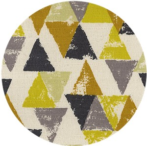 Japanese Import, BARKCLOTH, Painted Triangles Chartreuse