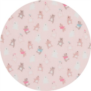 Cosmo Textiles, DOUBLE GAUZE, Bear Boogie Pink