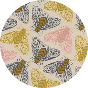 Sarah Watts for Cotton and Steel, Magic Forest, Bees Yellow