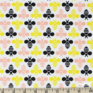 Jack!e for Camelot Fabrics, Bee Youtiful, Bee Youtiful White