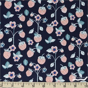 Teresa Chan for Camelot Fabrics, Berry Blossoms, Berries Indigo