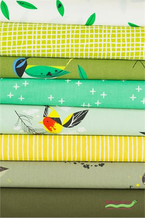 Fabricworm Custom Bundle, ORGANIC, Bird Flock in FAT QUARTERS 8 Total