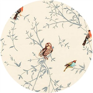 Liesl Gibson for Robert Kaufman, Woodland Clearing, LAWN, Bird Watch Ivory