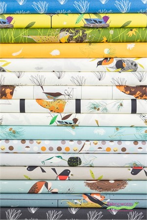 Charley Harper for Birch Organic Fabrics, Bird Architects in FAT QUARTERS 16 Total