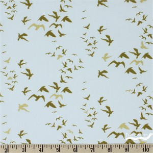 Teresa Chan for Camelot Fabrics, Up, Up and Away, Birds Light Blue Metallic
