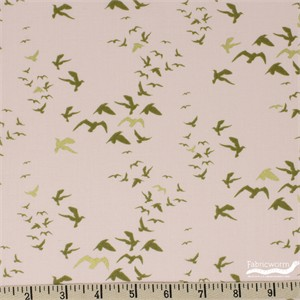 Teresa Chan for Camelot Fabrics, Up, Up and Away, Birds Pink Metallic