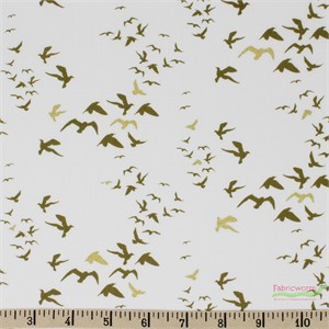 Teresa Chan for Camelot Fabrics, Up, Up and Away, Birds White Metallic