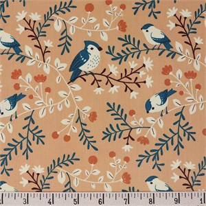 COMING SOON, Teagan White for Birch Organic Fabrics, Best of Teagan White, Birds and Branches Coral