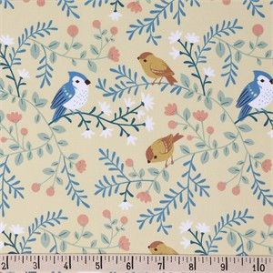 COMING SOON, Teagan White for Birch Organic Fabrics, Best of Teagan White, Birds and Branches Cream