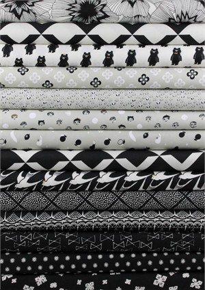 Cotton and Steel, Black and White 2 in FAT QUARTERS 12 Total