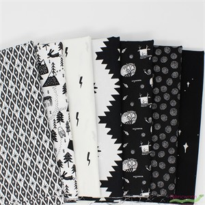 Fabricworm Custom Bundle, Black and White Campsite in FAT QUARTERS 6 Total