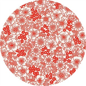 Robert Kaufman, London Calling 6, LAWN, Blossoms Red