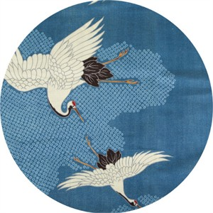 Japanese Import, DOUBLE GAUZE, Blue Crowned Crane