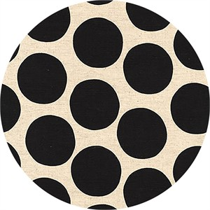Sevenberry for Robert Kaufman, Cotton/Flax Prints, CANVAS, Bold Dot Black