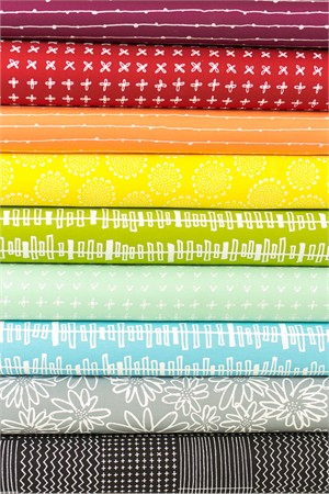 Karen Lewis for Robert Kaufman, Blueberry Park Rainbow in FAT QUARTERS 9 Total