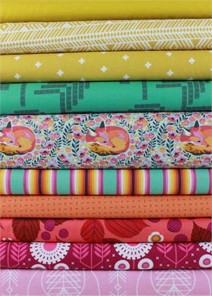 Fabricworm Custom Bundle, Bright and Foxy in FAT QUARTERS 10 Total