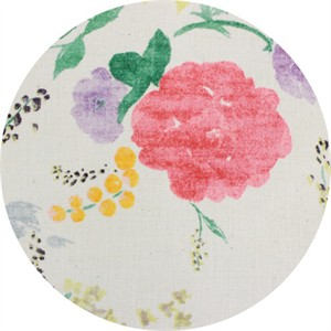 Nani Iro, BRUSHED CANVAS, Birds and Blooms Cream