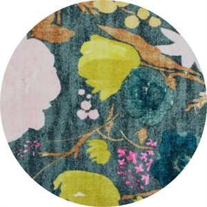 Nani Iro, BRUSHED CANVAS, Birds and Blooms Evergreen