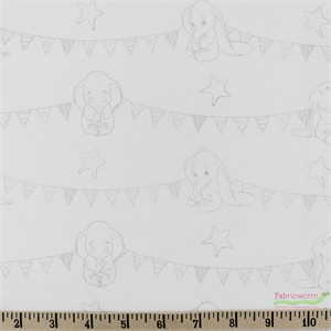 Camelot Fabrics, Dumbo, Bunting Banners Zinc