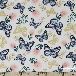 Teresa Chan for Camelot Fabrics, Up, Up and Away, Butterfly Palest Pink Metallic