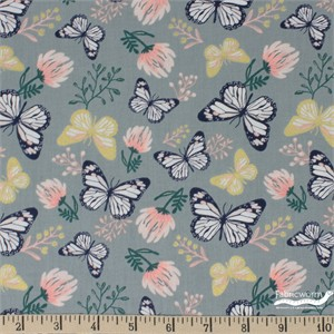 Teresa Chan for Camelot Fabrics, Up, Up and Away, Butterfly Slate Metallic