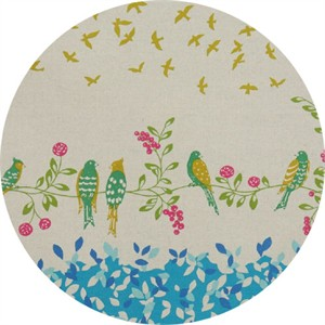 Echino, Birding CANVAS, Birdsong Blue Border Print