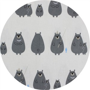 Japanese Import, CANVAS, Fishing Bears Grey