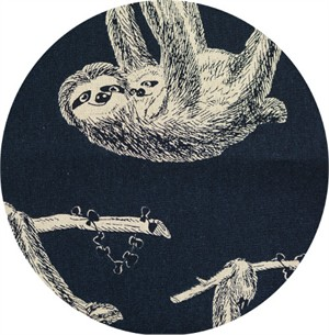 Cosmo Textiles, CANVAS, French Sloths Navy