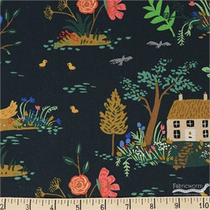 Rifle Paper Co. for Cotton and Steel, English Garden, CANVAS, Garden Toile Dark