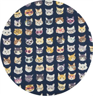 Japanese Import, CANVAS, Hipster Kitties Navy