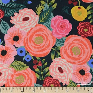 Rifle Paper Co. for Cotton and Steel, English Garden, CANVAS, Juliet Rose Navy