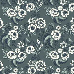 Arleen Hillyer for Birch Organic Fabrics, Merryweather, CANVAS, Merry Floral Slate