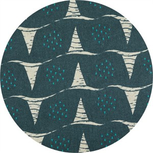 Japanese Import, Summer Vibes CANVAS, Wavy Snails Deep Green