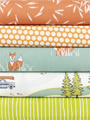 Fabricworm Custom Bundle, ORGANIC, Camping in FAT QUARTERS 5 Total (PRECUT)
